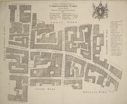 An exact and correct plan of Cordwainers ward, taken by order of Sr. Henry Bankers Knt and Alderman. 1768